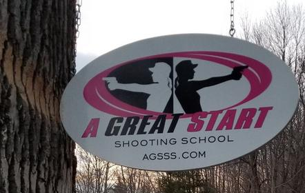 a great start shooting school sign